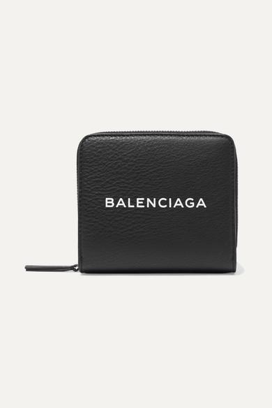 Balenciaga Portemonnaie aus strukturiertem Leder mit Logoprint