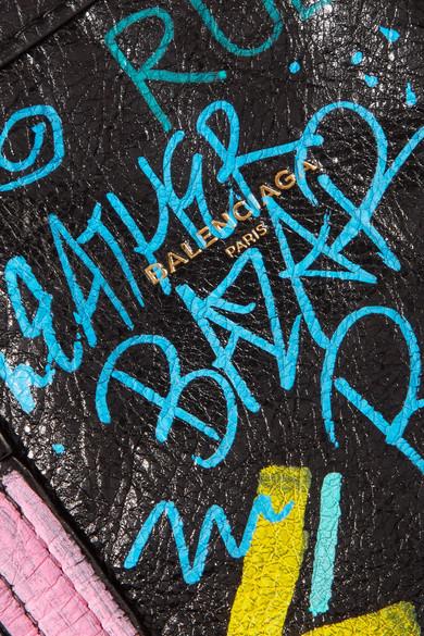 Balenciaga Bazar mittelgroße Tote aus strukturiertem Leder mit Print