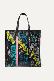 Bazar medium printed textured-leather tote