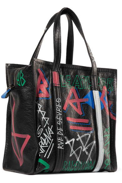 Bazar Small Printed Textured-leather Tote - Black Balenciaga hMKbglFSYE