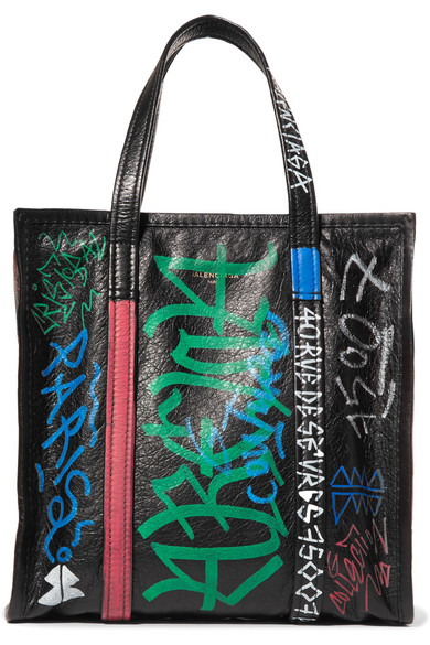 Balenciaga - Bazar Small Printed Textured-leather Tote - Black