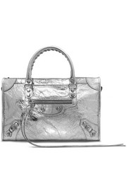 Classic City metallic textured-leather tote