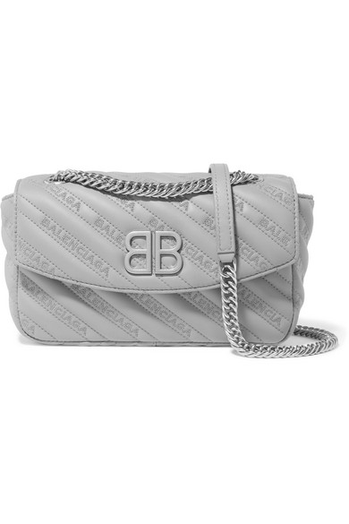 Balenciaga Bb Round Small Shoulder Bag In Embroidered Leather