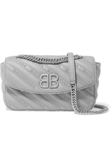 Balenciaga BB Round kleine Schultertasche aus besticktem Leder