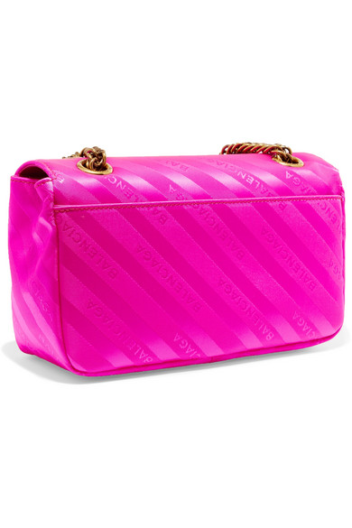 Balenciaga BB Schultertasche aus neonfarbenem Jacquard