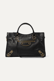 Balenciaga Metallic Edge City medium textured-leather tote