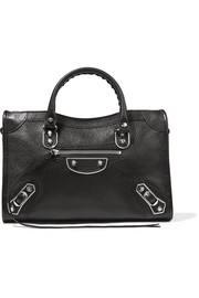 Metallic Edge City small textured-leather tote