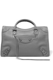 Metallic Edge City medium textured-leather tote