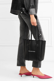 XS printed textured-leather tote