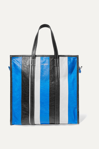 Stripes Balenciaga Bazar Medium Sized Tote Made Of Textured Leather With