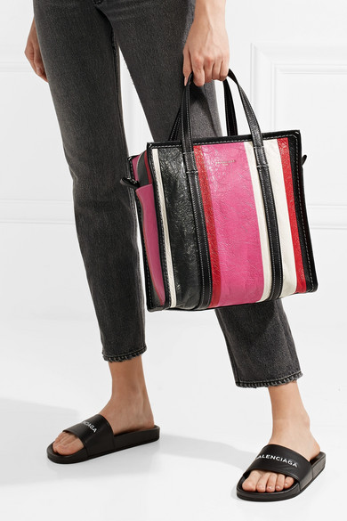 Balenciaga Bazar Small Striped Tote Made Of Textured Leather