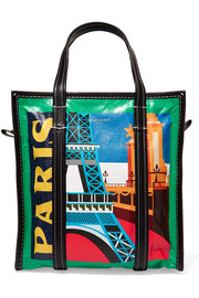 Bazar Paris small printed textured-leather tote