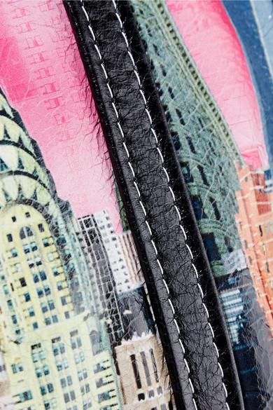 Balenciaga Bazar kleine bedruckte Tote aus strukturiertem Leder