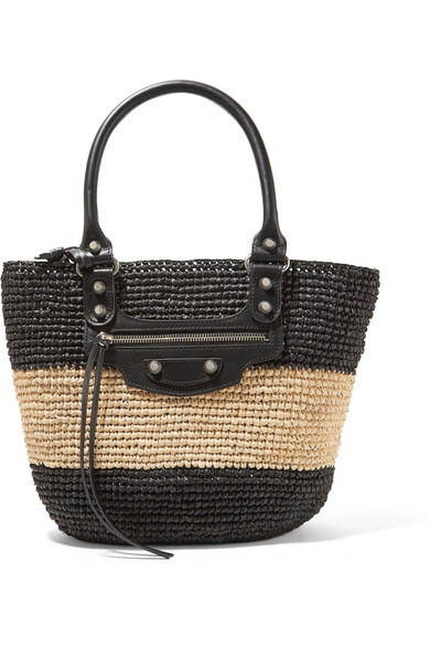 PANIER LEATHER-TRIMMED TWO-TONE RAFFIA TOTE