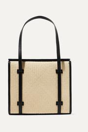 Iraca Box raffia and leather tote