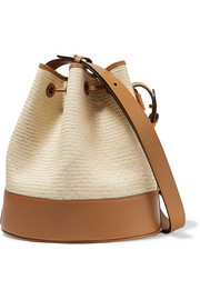 Iraca large raffia and leather bucket bag