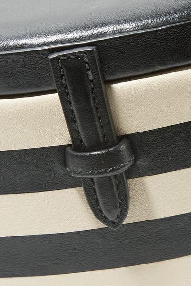Hunting Season Oval Trunk gestreifte Schultertasche aus Leder