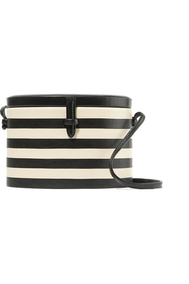 OVAL TRUNK STRIPED LEATHER SHOULDER BAG