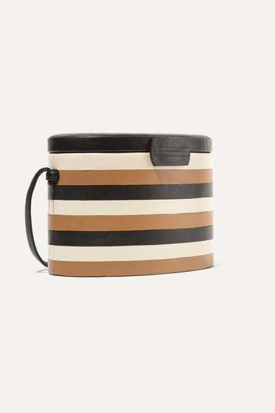 Hunting Season Oval Trunk Striped Shoulder Bag Leather Made