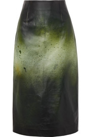 CALVIN KLEIN 205W39NYC Printed glossed-leather midi skirt