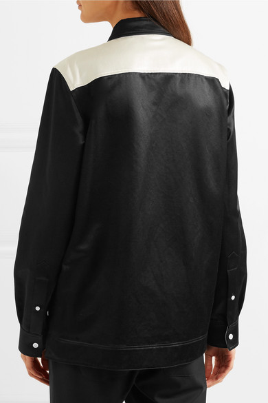 Two-tone Cotton-blend Satin Shirt - Black CALVIN KLEIN 205W39NYC Professional Cheap Price Outlet Big Sale Affordable For Sale Pictures For Sale Affordable Online 611jLt
