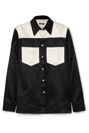 Two-tone cotton-blend satin shirt
