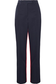 Two-tone wool-twill straight-leg pants