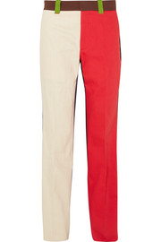 Color-block cotton-drill pants