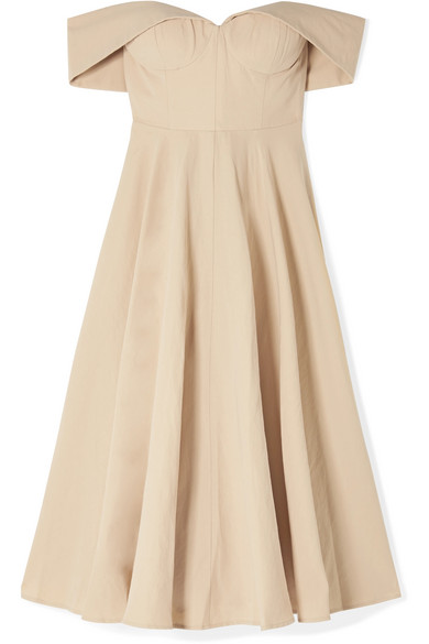 849781baa9 Co. Off-the-shoulder cotton and linen-blend midi dress
