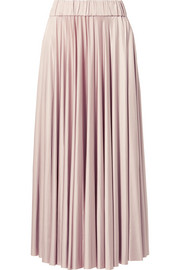 Stretch-satin jersey midi skirt