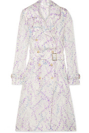 Floral-print silk-organza trench coat