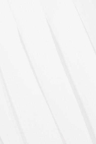 Max Mara Wickelrock aus Leinen mit Falten und Lederdetail in Maxilänge