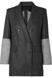 Double-breasted paneled linen blazer