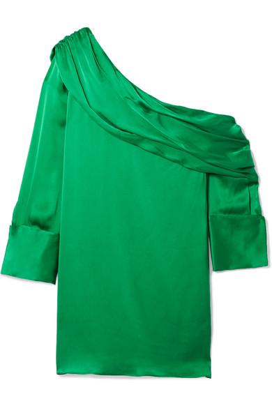 Serina Off-the-shoulder Stretch-silk Satin Mini Dress - Green Alice & Olivia D7KE0L