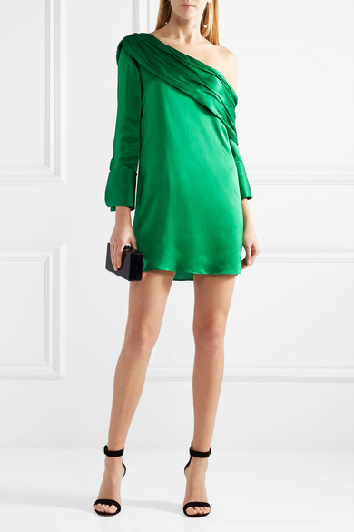 Alice + Olivia Serina Mini Dress In Stretch Silk Satin Strapless Asymmetrical Partie