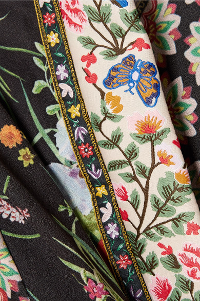 Alice + Olivia Lynn Kimono aus floral bedrucktem Stretch-Jersey mit Jacquard-Besatz