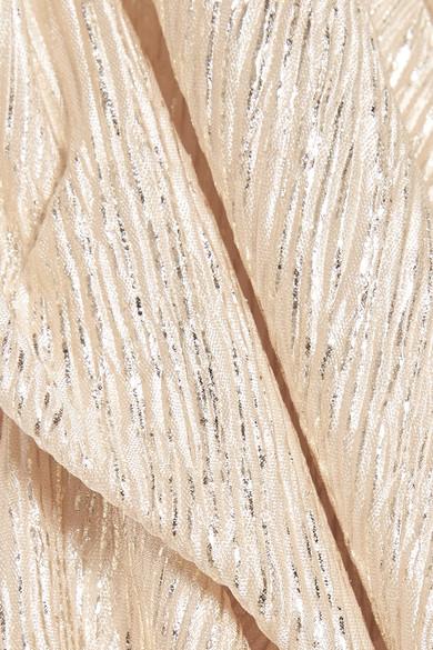 Alice + Olivia Jeanie Midikleid aus plissiertem Metallic-Jersey