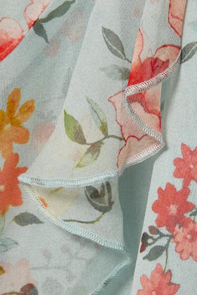 Alice + Olivia Mable Midikleid aus Seiden-Georgette mit Blumenprint und Wickeleffekt