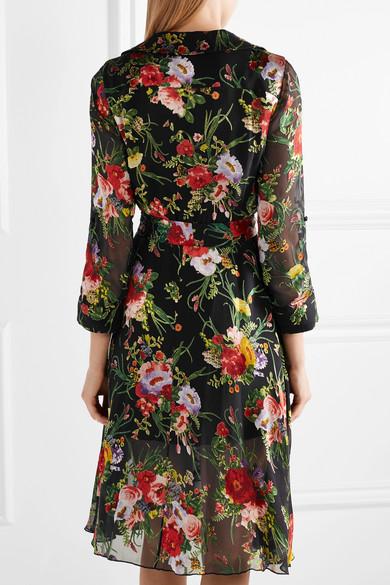 Alice + Olivia Abney Wickelkleid aus Devoré-Chiffon mit floralem Print