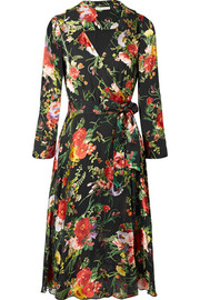 Alice + Olivia Abney floral-print burnout-chiffon wrap dress