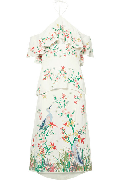 Golda Off The Shoulder Embroidered Georgette Halterneck Midi Dress by Alice + Olivia