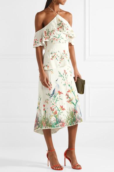 Alice + Olivia Golda schulterfreies Neckholder-Kleid aus Georgette mit Stickereien