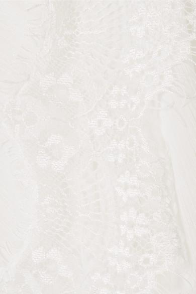 Alice + Olivia Jaden Bluse aus Gaze mit Spitzeneinsätzen Footaction Online-Verkauf Günstigsten Preis Günstig Online Günstig Kaufen Niedrigen Preis Versandkosten Für Auslassstellen Günstig Online d2WaPyfX0