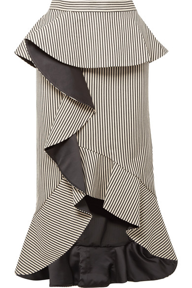 Alice + Olivia Alessandra Striped Midi Rock From A Cotton Blend With Ruffles