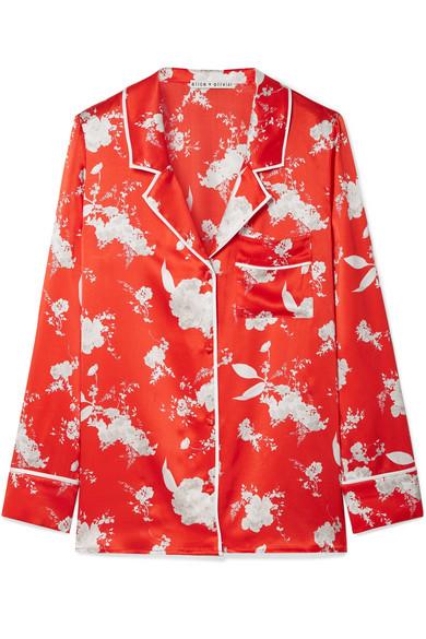 Alice + Olivia Keir Hemd aus Seidensatin mit Blumendruck