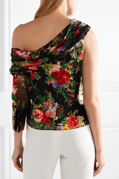 Alice + Olivia Serita Oberteil aus floral bedrucktem Devoré-Chiffon mit asymmetrischer Schulterpartie