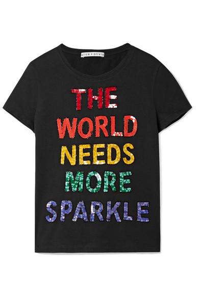 Alice + Olivia Rylyn T-Shirt aus Baumwoll-Jersey mit Pailletten