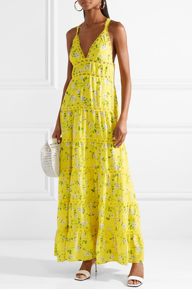 802bd4e0ea Alice + Olivia. Karolina crochet-trimmed floral-print chiffon maxi dress