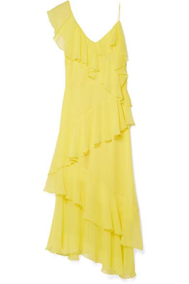 Alice Olivia Olympia Cold Shoulder Ruffled Silk Chiffon Midi Dress Net A Porter Com
