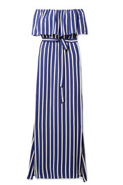 Grazi off-the-shoulder striped voile maxi dress